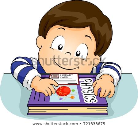 Gyerek fiú könyvtár kártya fizika könyv Stock fotó © lenm