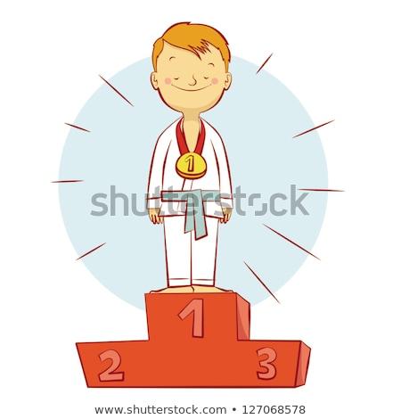 Cartoon karate kid celebrare illustrazione Foto d'archivio © cthoman