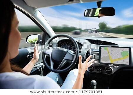 Stock fotó: Nő · utazó · vezetés · autó · közelkép · modern