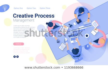 Marketing strategy - modern isometric vector web banner Stock photo © Decorwithme