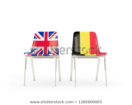 Two chairs with flags of UK and belgium isolated on white Stock photo © MikhailMishchenko