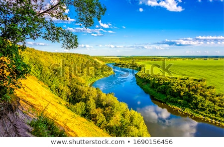 summer landscape with tree, river and blue sky Stock photo © ruslanshramko