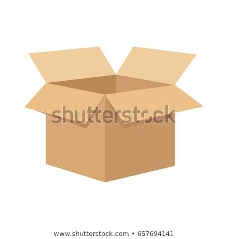 Foto stock: Abrir · caixa · reciclar · branco · fundo · gráfico