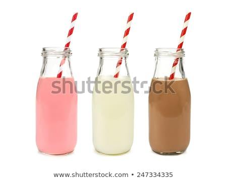 клубника соломы стекла молоко бутылку ретро Сток-фото © sarahdoow
