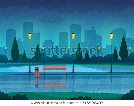 Raining in the park Stock photo © colematt
