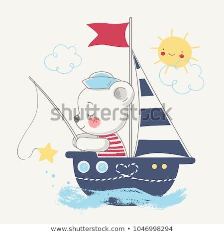 Bebê pescador barco ilustração criança lago Foto stock © adrenalina