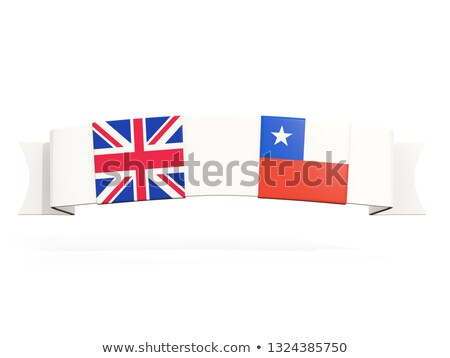 banner with two square flags of united kingdom and chile stock photo © mikhailmishchenko