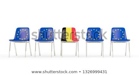 Rij stoelen vlag eu België geïsoleerd Stockfoto © MikhailMishchenko