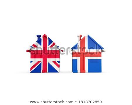 два домах флагами Великобритания Исландия изолированный Сток-фото © MikhailMishchenko