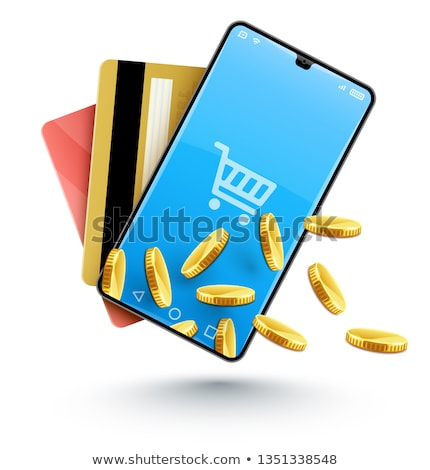 Stock fotó: Smartphone Online Shopping With Gold Coins Concept