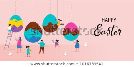 Pasen · scène · gekleurde · eieren · paaseieren · bunny · vers - stockfoto © neirfy