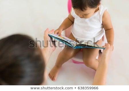 Fiú wc olvas könyv illusztráció gyermek Stock fotó © colematt