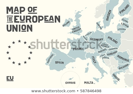 Poster map of the European Union with country names ストックフォト © FoxysGraphic