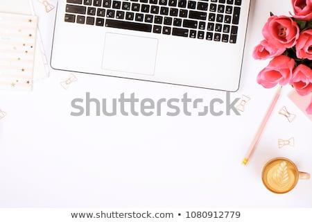 Vrouw vrouwelijk werkruimte laptop notebook boeket Stockfoto © Illia