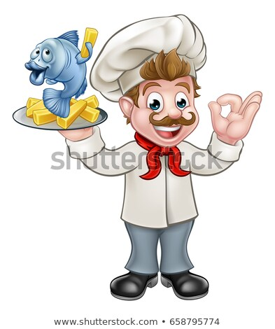 Chef Potato Cartoon Character Gesturing Ok And Holding Fries Stock photo © hittoon