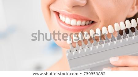 Foto stock: Mulher · correspondente · sombra · implantar · dentes