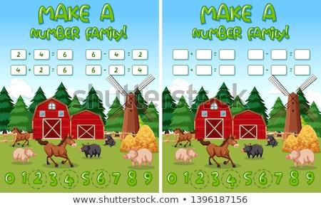 Gyártmány szám farm matematika illusztráció fű Stock fotó © bluering