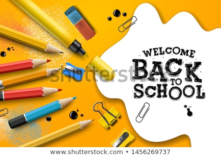 Back to School Sale. Design with colorful pencils and yellow notebook on checkered paper background, Stock photo © ikopylov