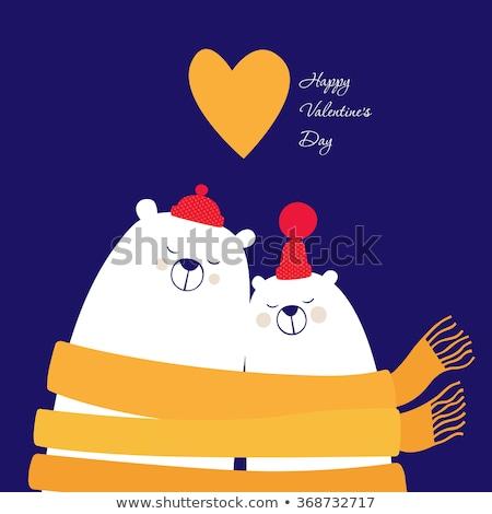 Lovely  Valentine's day card with polar bears couple Stock photo © balasoiu