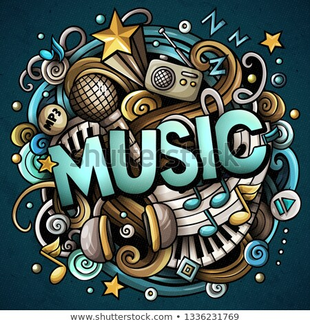 Cartoon cute doodles Music word. Colorful illustration. Stock photo © balabolka