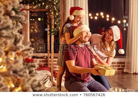 Familie christmas geschenken home vakantie viering Stockfoto © dolgachov