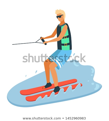 tanned boy water skiing summer sport vector stock photo © robuart