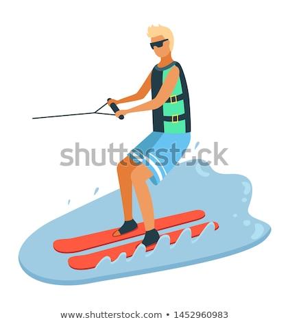 Jongen water skiën zomer sport Stockfoto © robuart