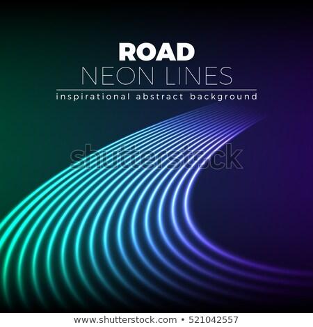Neon hatları 80s stil parlak yol Stok fotoğraf © SwillSkill