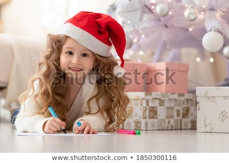 gyönyörű · kicsi · baba · fiú · karácsony · mikulás - stock fotó © galitskaya