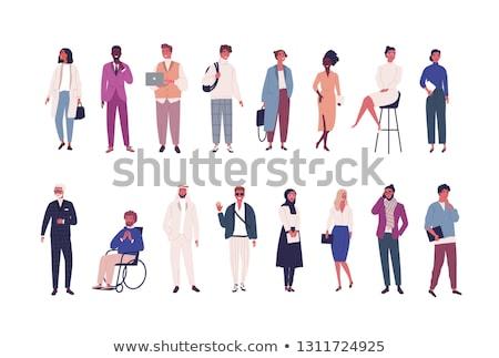 Szczęśliwy różnorodny działalności ludzi biuro portret zestaw Zdjęcia stock © cienpies