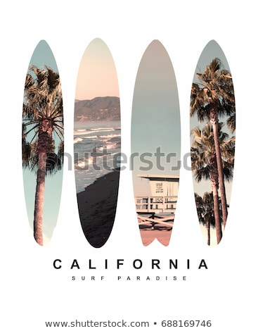 Santa Monica Beach Graphic for T-Shirt, prints. Vintage Los Angeles hand drawn 90s style emblem. Ret Stock photo © JeksonGraphics