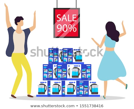 Electric Kettles in Boxes at Store on Sale Vector Stock photo © robuart