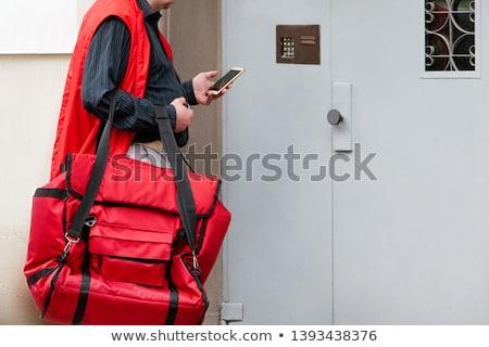 男 立って 家 鐘 入り口 ドア ストックフォト © AndreyPopov