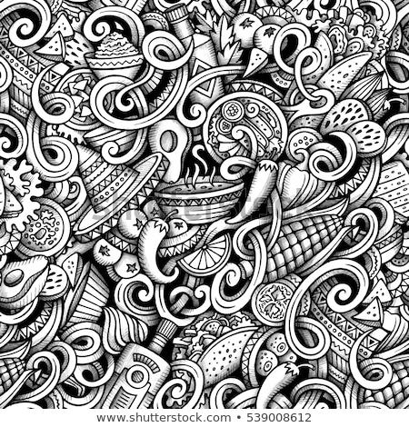 Cartoon americano mexicano símbolos objetos Foto stock © balabolka