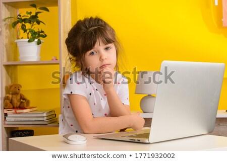 Laptop computador verde terno senhora zangado Foto stock © jsnover