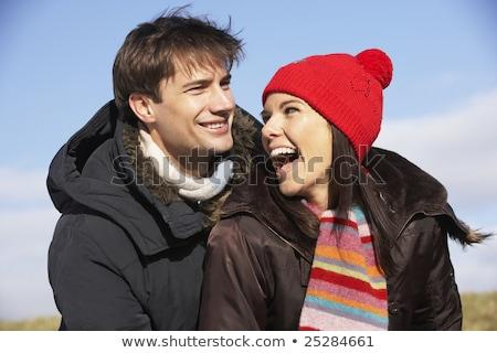 Człowiek ciepły ubrania zimą kobieta ciepło Zdjęcia stock © ElenaBatkova