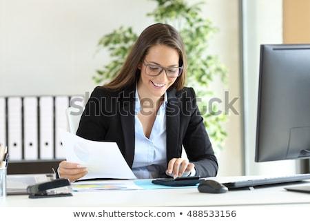 Souriant femme d'affaires impôt portrait bureau bureau Photo stock © AndreyPopov
