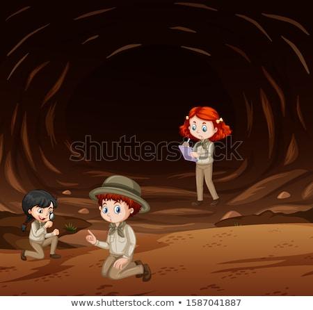 Jelenet három gyerekek felfedez barlang illusztráció Stock fotó © bluering