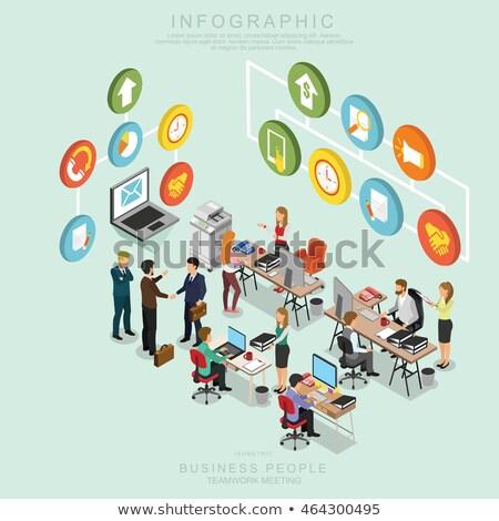 Isometrische kantoor 3d vrouw werken computer werkruimte Stockfoto © LittleCuckoo
