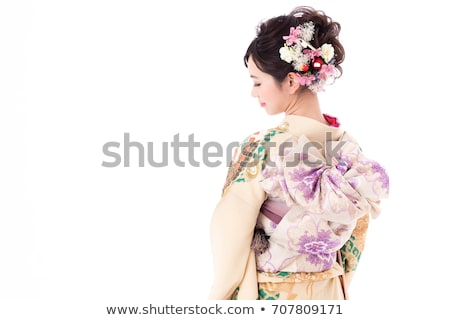 Image of beautiful young geisha woman in traditional japanese ki Stock photo © deandrobot