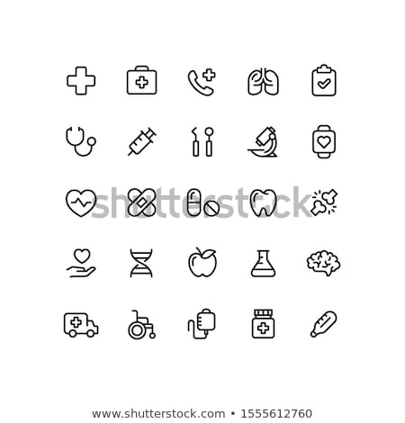 Brain And Medical Cross Icon Outline Illustration Stock photo © pikepicture
