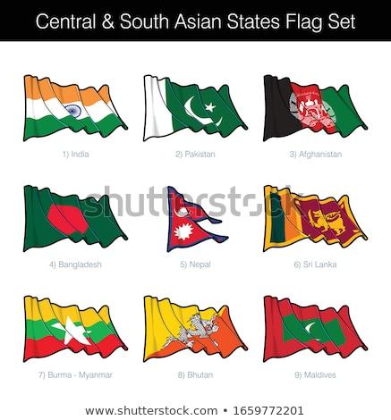 Central sul asiático bandeira conjunto Foto stock © nazlisart