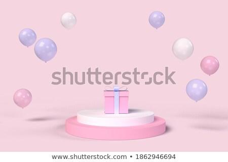 Paars witte podium ballonnen 3D 3d render Stockfoto © djmilic