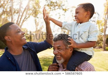 Dziadek wnuk wyścigi lata parku rodziny Zdjęcia stock © dolgachov