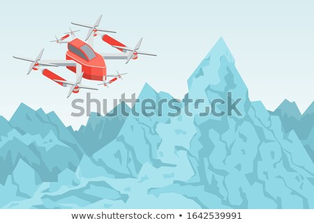 Drone Flying Over Mountain Range Helicopter Vector Stock photo © robuart