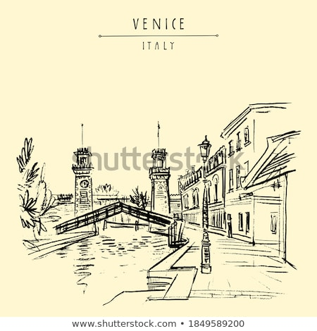 Arsenal tower and canal in Venice, Italy Stock photo © boggy