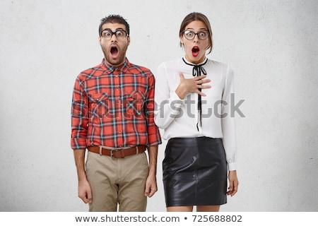 Portre şaşırmış çift heyecan bakıyor Stok fotoğraf © deandrobot