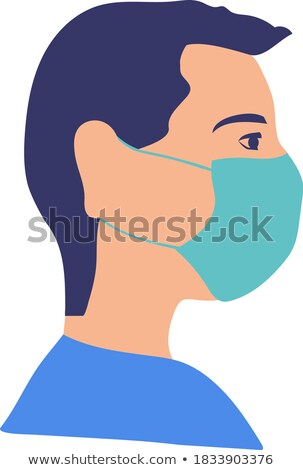 Portrait of man wearing face medical mask protected from flying virus pathogen with a shell Stock photo © robuart