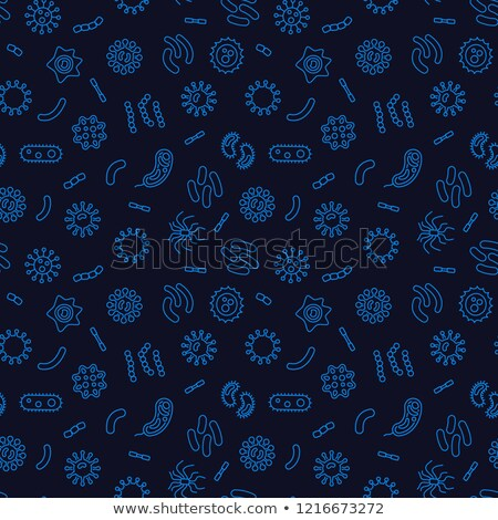 Viruses and Bacteria Linear Seamless Pattern on Dark Stock photo © Voysla