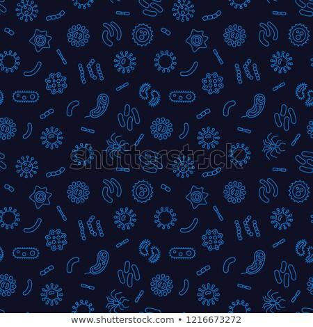 Viruses and Bacteria Linear Seamless Pattern on Dark Stock photo © Voysla